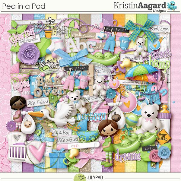 Digital Scrapbook Kit Pea In A Pod Kristin Aagard