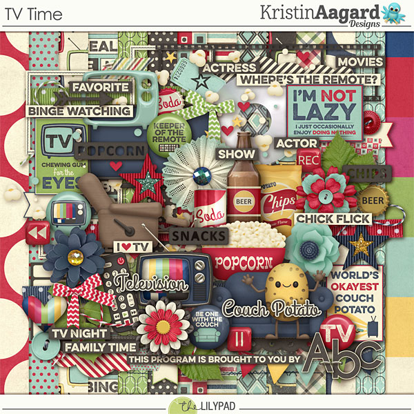 Digital Scrapbook Kit Tv Time Kristin Aagard