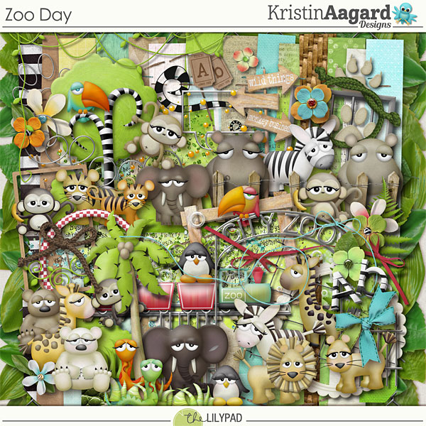 Digital Scrapbook Kit Zoo Day Kristin Aagard