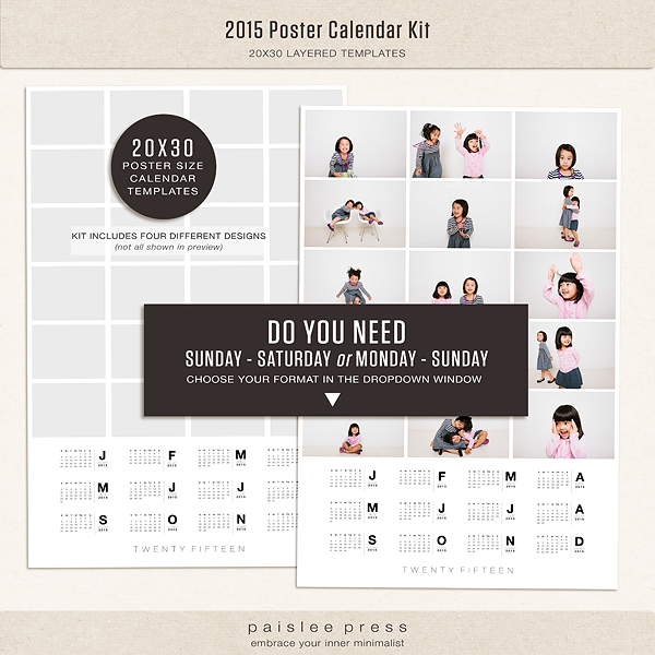Calendar Posters 2015 : Poster calendar by paislee press