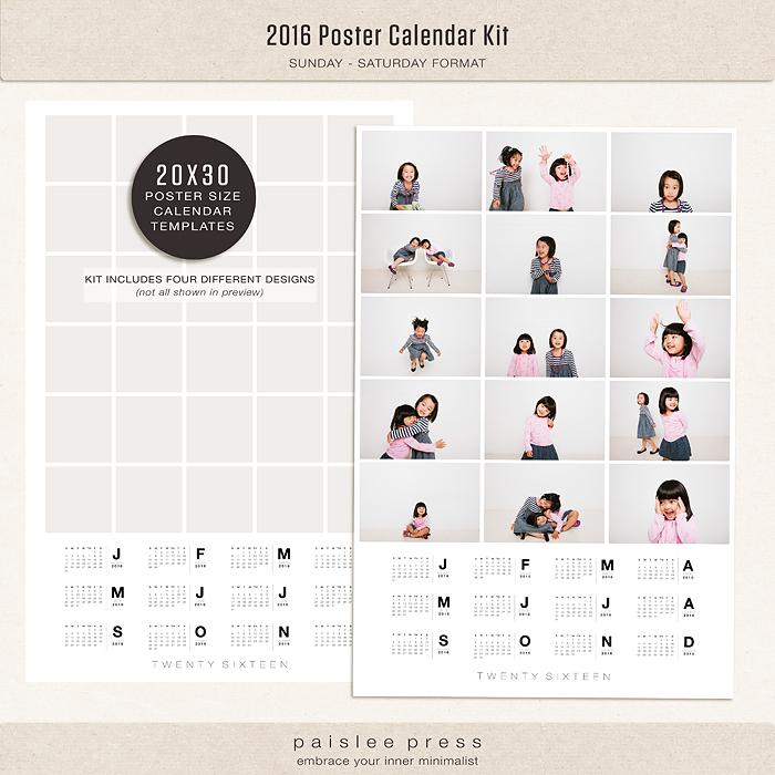 Calendar Poster 2016 : The lilypad calendars poster calendar