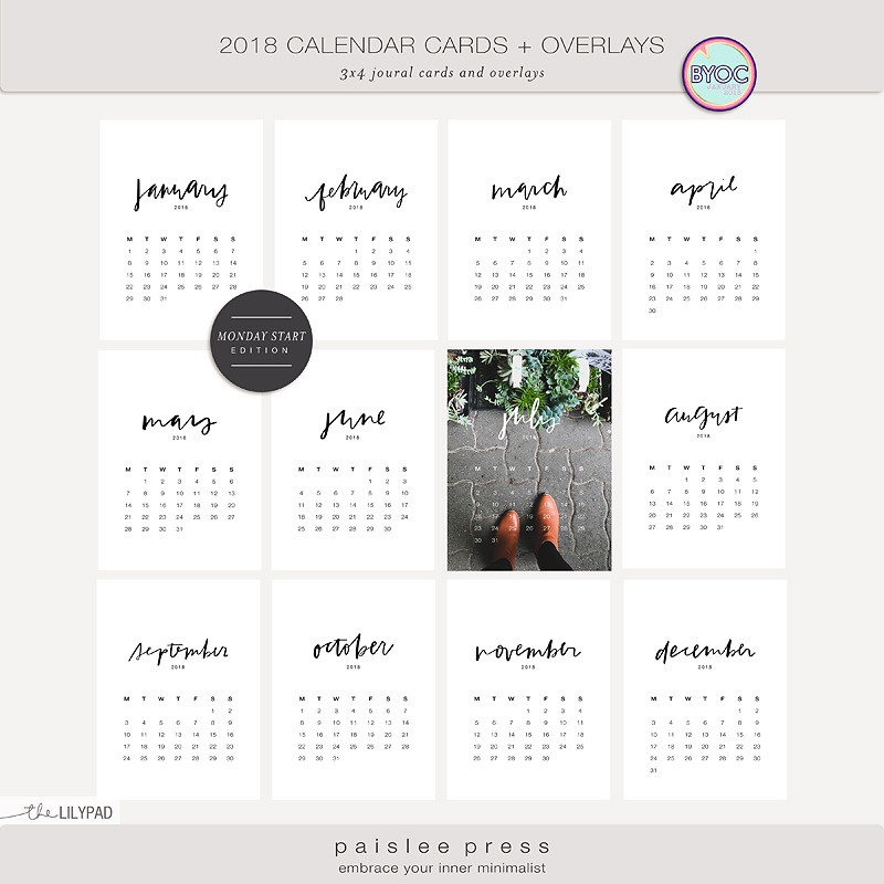 2018 Calendar Cards Overlays By Paislee Press Monday Sunday