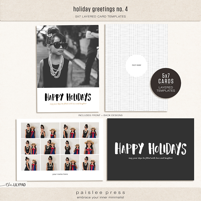 Holiday Greetings No By Paislee Press - 5x7 greeting card template
