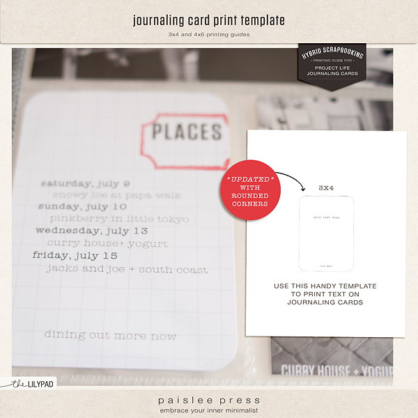 journaling card print template
