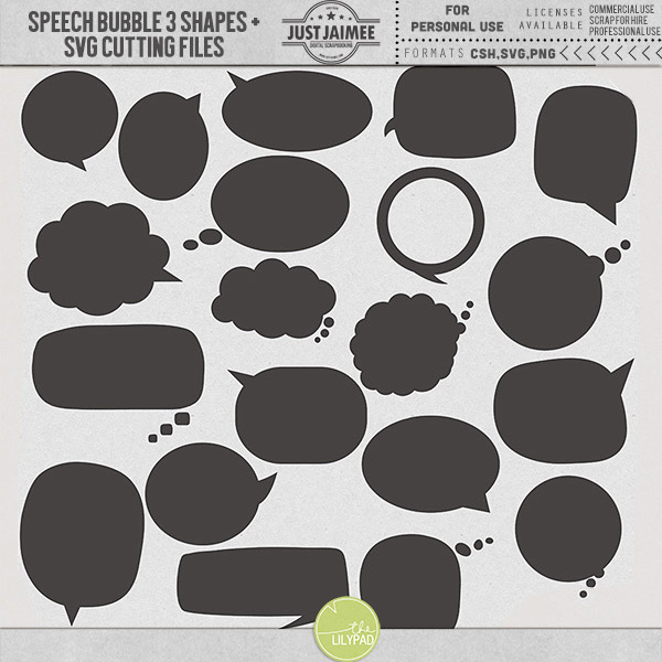 Speech Bubbles 3 Custom Shapes + SVG files by Just Jaimee