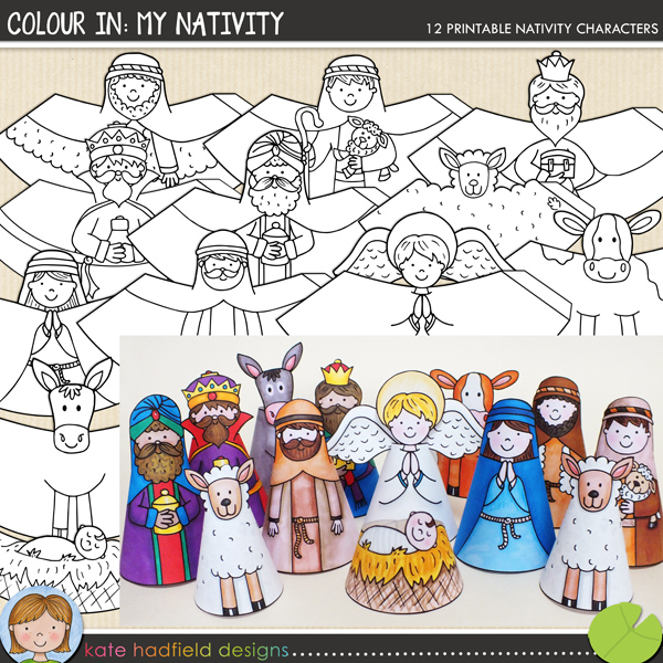 The lilypad crafts colour in nativity for Printable christmas craft ideas