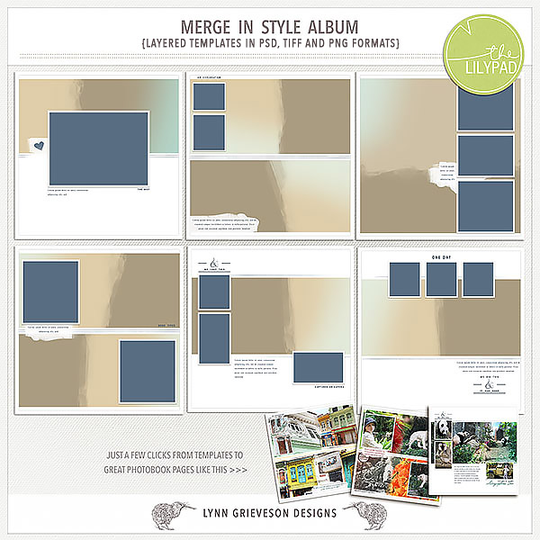 Merge in Style digital scrapbooking template album by Lynn Grieveson – Template for Photo Album