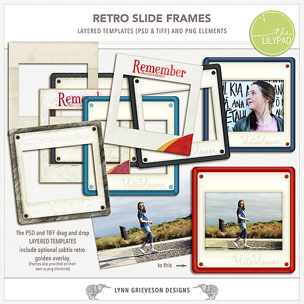Retro Slide Frames For Digital Scrapbooking By The Lilypad Designer
