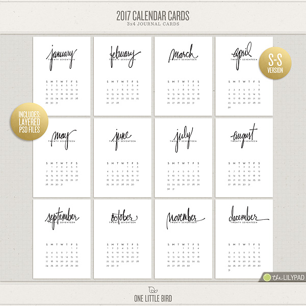 2017 Calendar Cards | Printable Journaling Cards | One Little Bird