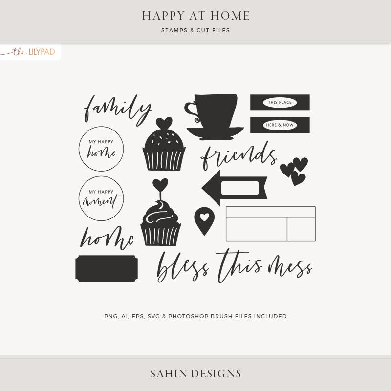 Happy At Home Digital Scrapbook Stamps Sahin Designs