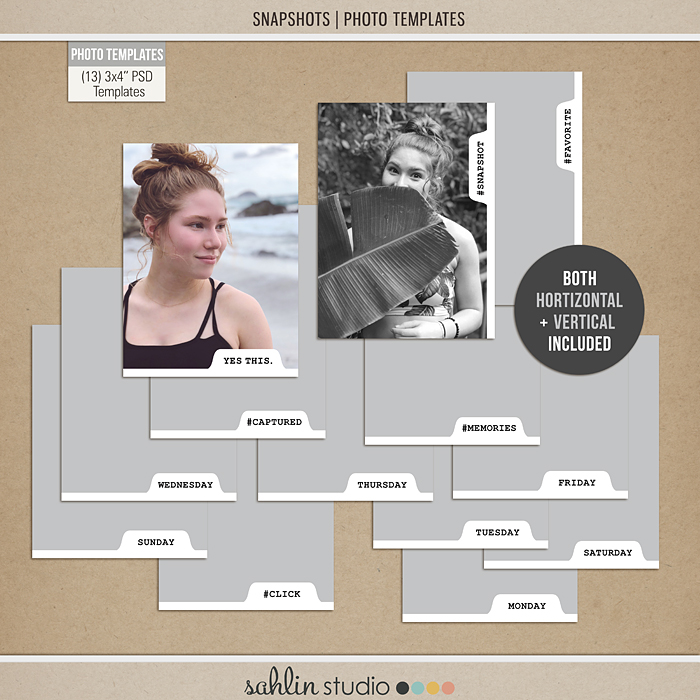 "Snapshots Photo Templates by Sahlin Studio - Perfect for over your Project Life 3x4"" photos!!"