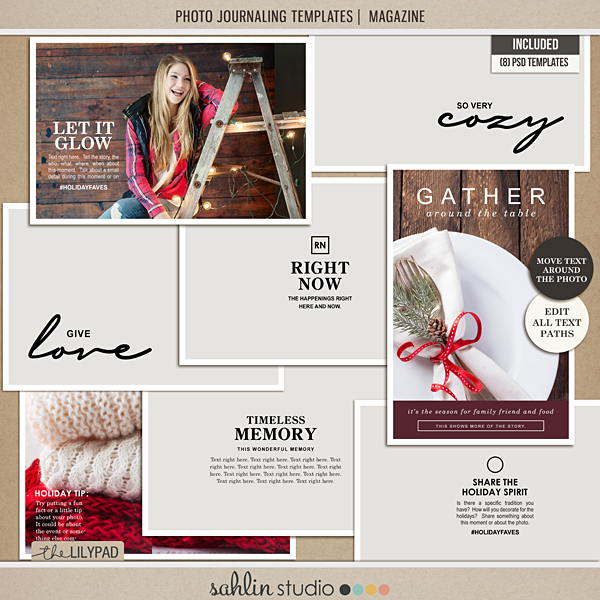 "Photo Journaling Templates | Magazine by Sahlin Studio - Perfect for over your Project Life 4x6"" photos!!"