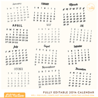 Fully Editable 2014 Calendar