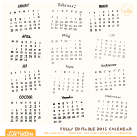 Fully Editable 2015 Calendar