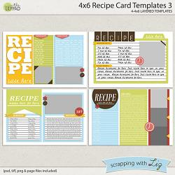 Digital Scrapbook Templates - 4x6 Recipe Card 1   Scrapping with Liz