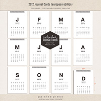 2012 Calendar Journaling Cards (European Edition)