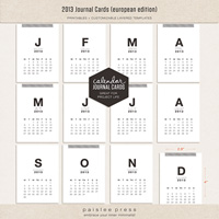2013 Calendar Journaling Cards (European Edition)