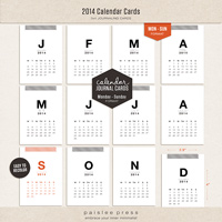 2014 Calendar Journaling Cards (Monday - Sunday)