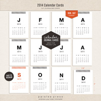 2014 Calendar Journaling Cards (Sunday - Saturday)