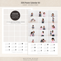 2016 Poster Calendar 20x30 (Sunday - Saturday)