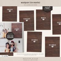 woodgrain journaling cards (2014 Months)