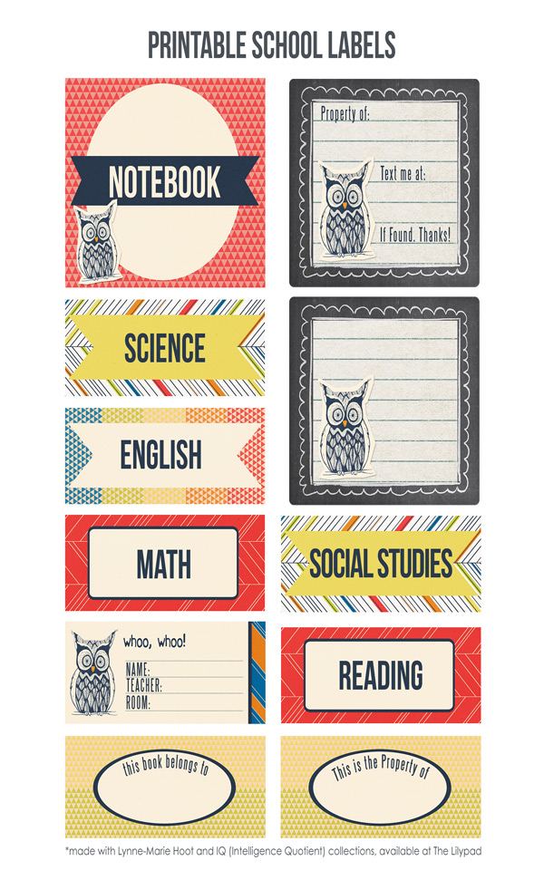 School Labels Printable with Lynne-Marie Designs
