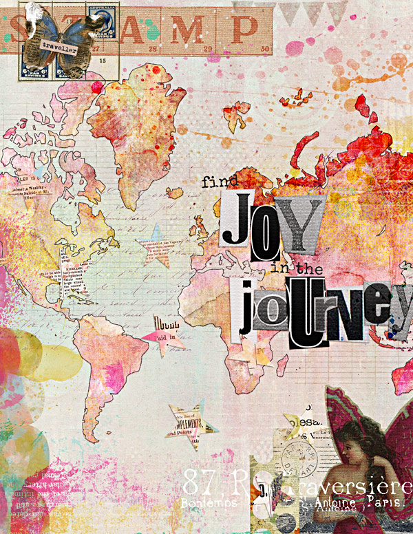 see how to create this digital art journal page using the Mixed Media Monthly January 2015 kit at The Lilypad