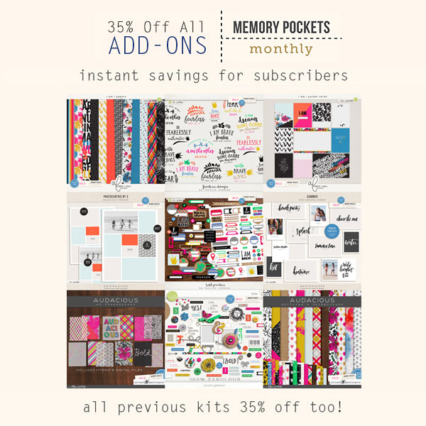 Add-ons for the Memory Pockets Monthly July 2016 Collection BOLD at the Lilypad