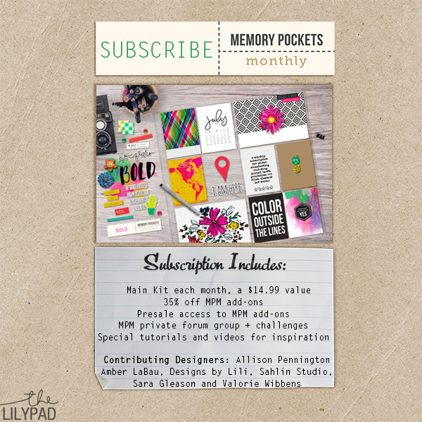 Memory Pockets Monthly pocket scrapbooking subscription at the Lilypad