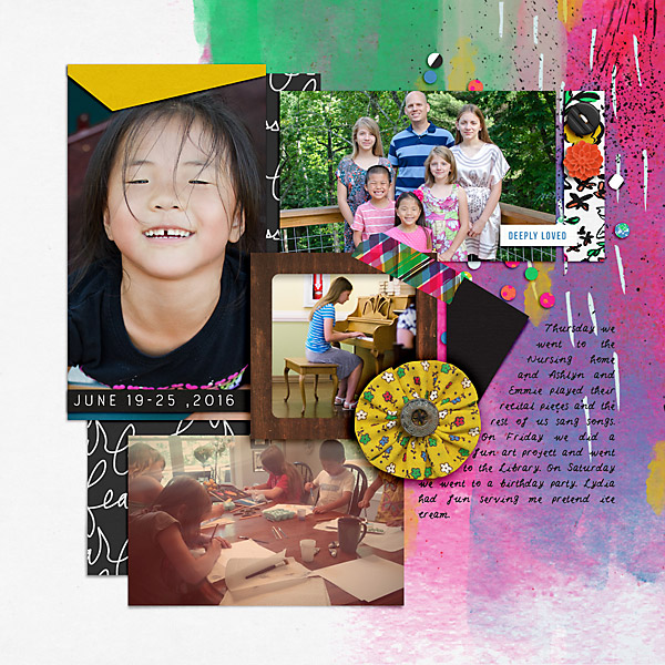 Weekly Life Page 25 Right by Scrapping with Liz at the Lilypad using products from the Memory Pockets Monthly July 2016 Collection BOLD