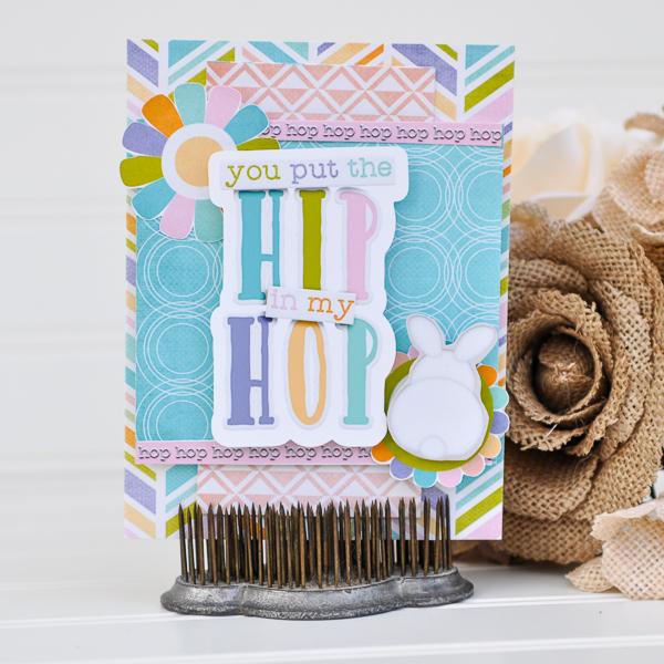 Hybrid Easter card with Bella Gypsy Designs Bunny Trail