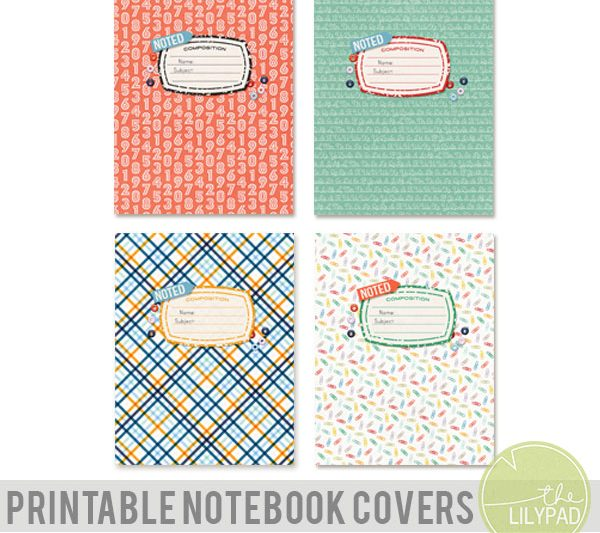 Back to School Printable Notebook Covers