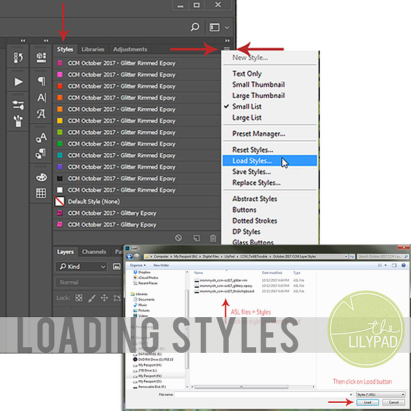 Loading Styles in PS and PSE
