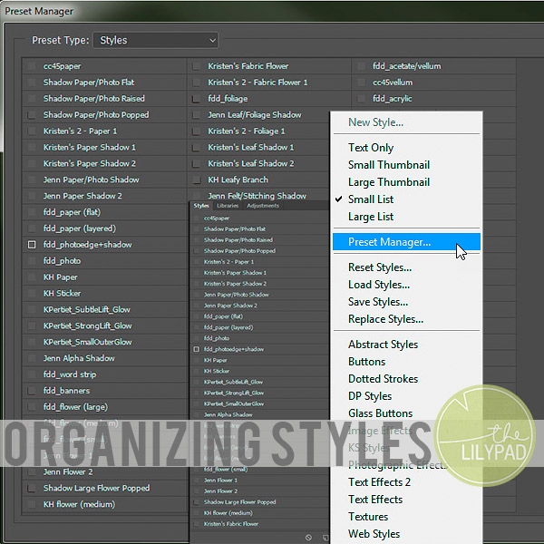 Organizing Styles in Photoshop and PSE