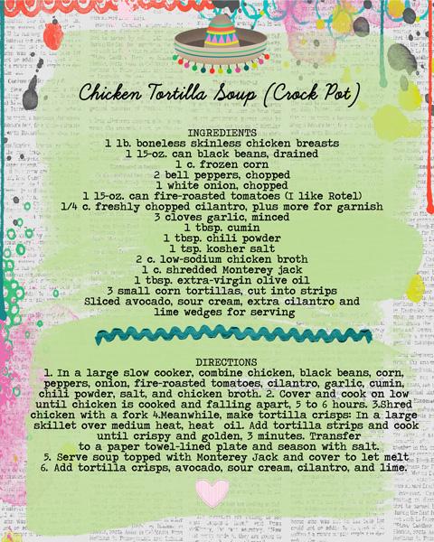 Chicken Tortilla Soup (crock pot)