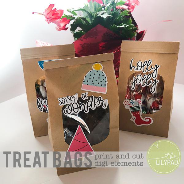 Festive Treat Bags using Print and Cut Elements