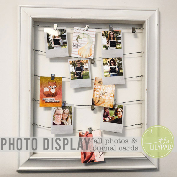 Photo Display with Fall Photos and Journal Cards